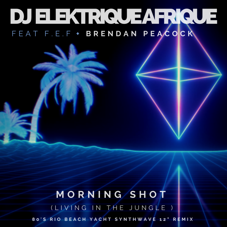 DJ Elektrique Afrique teams up with SA guitarist Brendan Peacock and F.E.F for a House, Dance, Synthwave, Darkwave, Retrowave, Futuristic 80's single entitled 'Morning Shot: Living in the Jungle'
